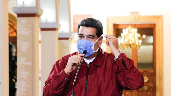 Ο πρόεδρος της Βενεζουέλας, Νικολάς Μαδούρο, με προστατευτική μάσκα για τον κορονοϊό - Sputnik Ελλάδα